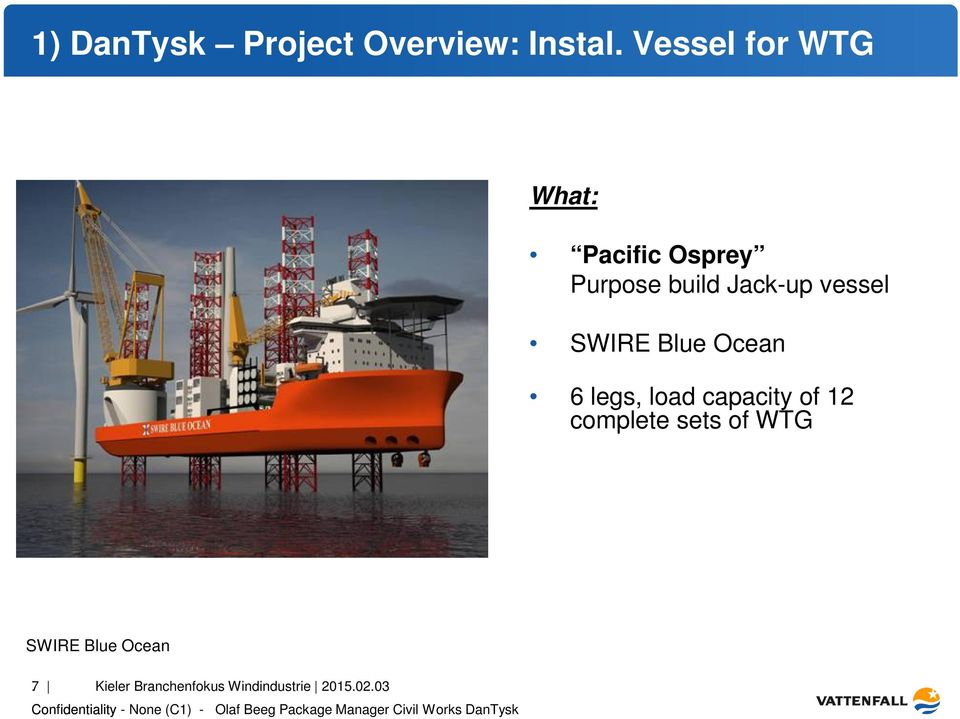 vessel SWIRE Blue Ocean 6 legs, load capacity of 12