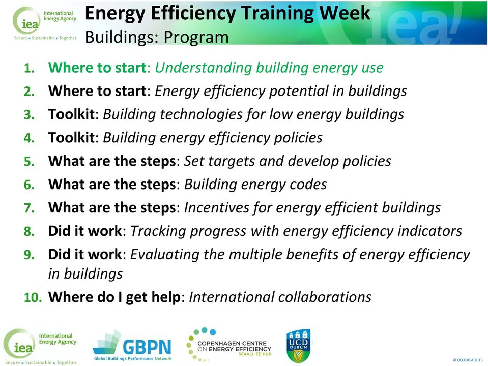Toolkit: Building energy efficiency policies 5. What are the steps: Set targets and develop policies 6. What are the steps: Building energy codes 7.