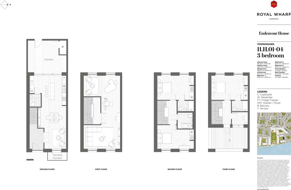 01-04 3 bedroom 199 SqM / 2142 SqFt 4610 mm x 4505 mm 5808 mm x