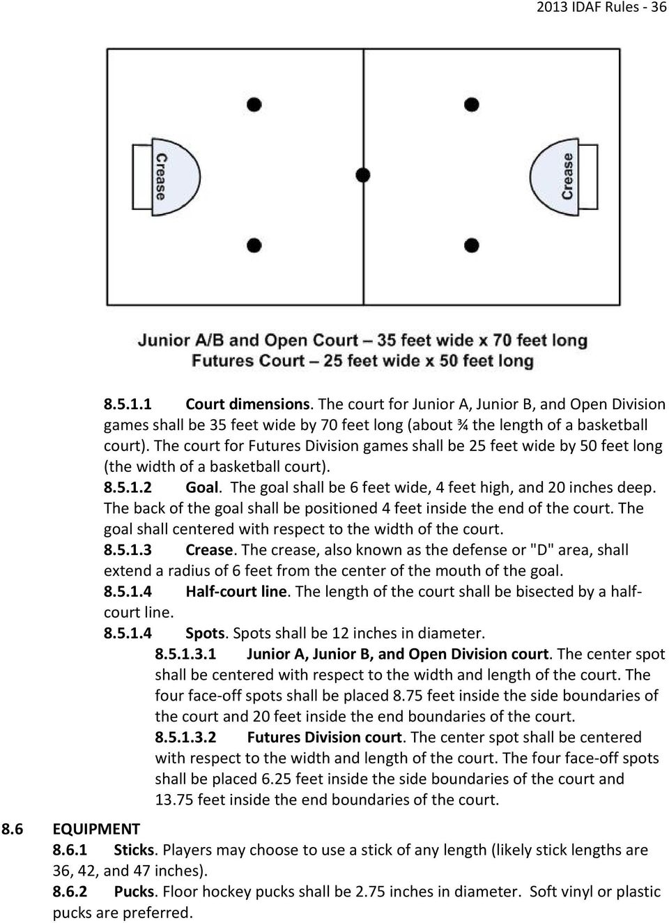 The back of the goal shall be positioned 4 feet inside the end of the court. The goal shall centered with respect to the width of the court. 8.5.1.3 Crease.