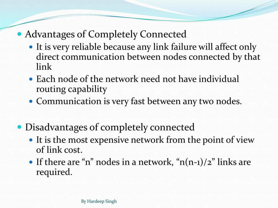 capability Communication is very fast between any two nodes.