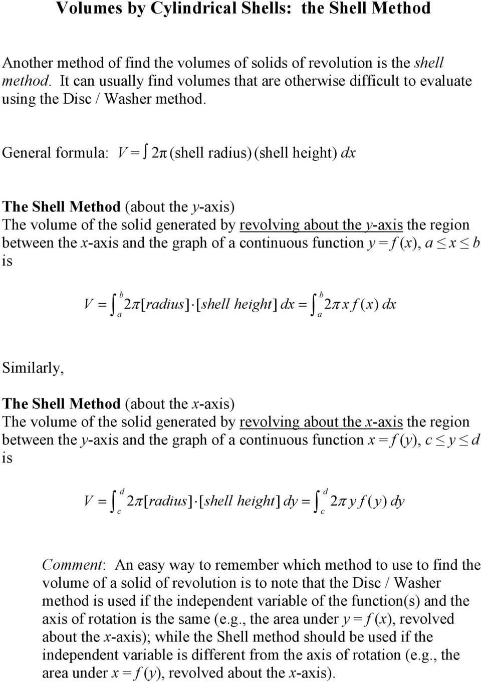 Generl formul: (shell rius (shell height The Shell Metho (out the -is The volume of the soli generte revolving out the -is the region etween the -is n the grph of ontinuous funtion f (, is [ rius] f