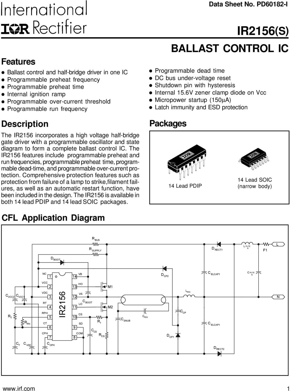 Ir2156s Ballast Control Ic Features Packages Description Cfl Ir2110 High Speed Power Mosfet Lead Assignments And Datasheet Descriptin The I56 Incrprates A Vltage Half Bridge Gate Driver With Prgrammable Scillatr