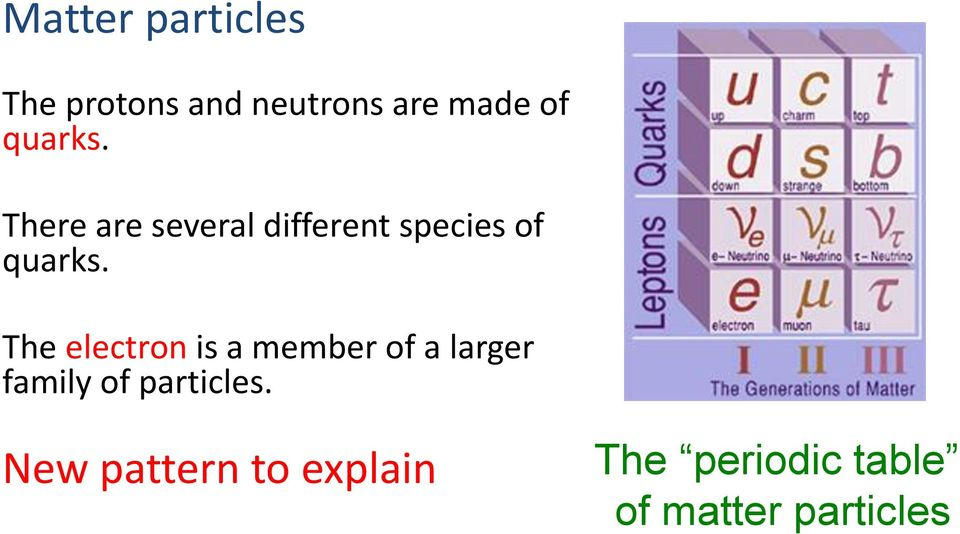 The electron is a member of a larger family of particles.