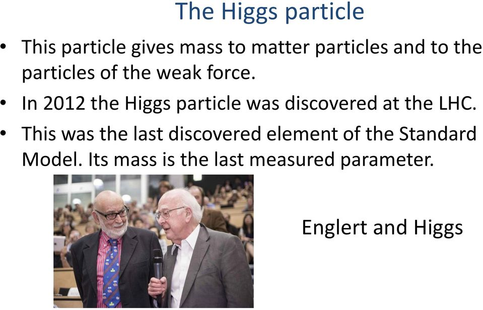 In 2012 the Higgs particle was discovered at the LHC.