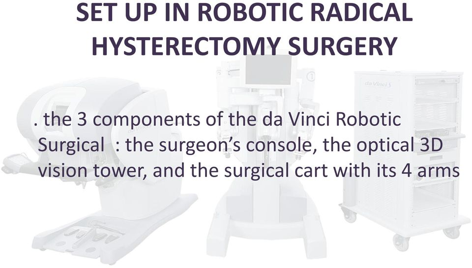 Surgical : the surgeon s console, the optical