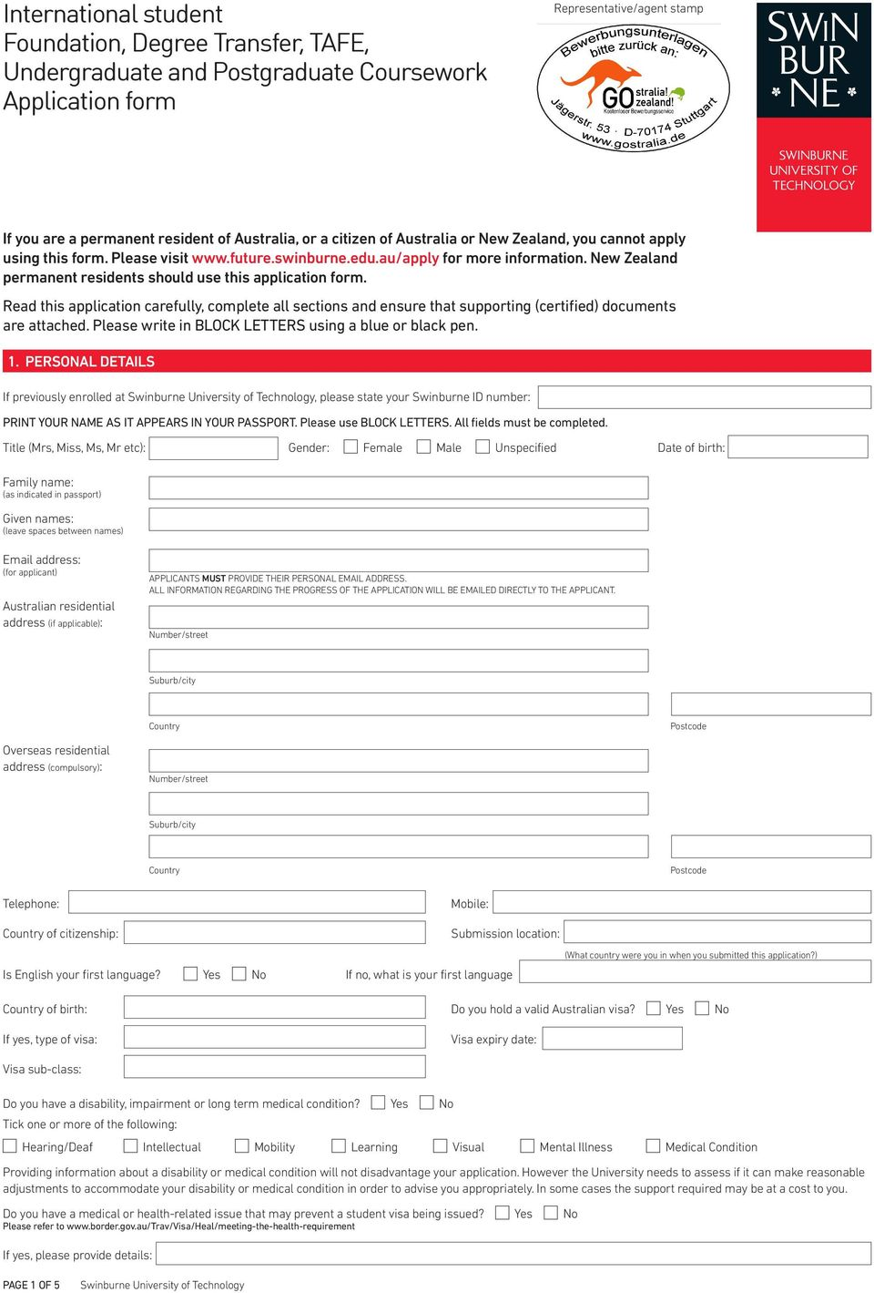 New Zealand permanent residents should use this application form. Read this application carefully, complete all sections and ensure that supporting (certified) documents are attached.