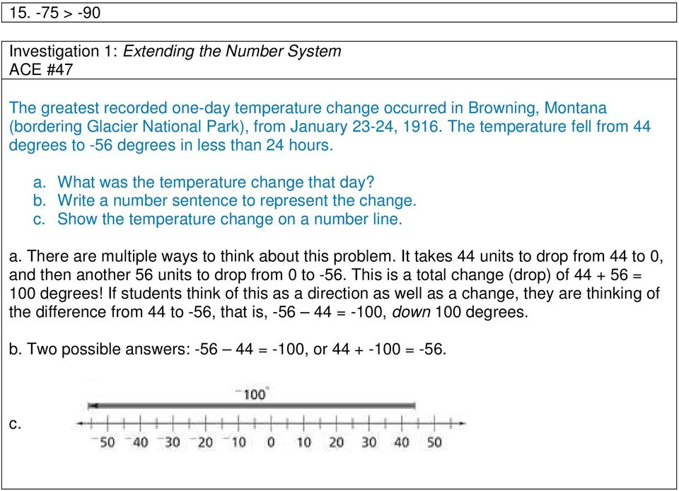 a. There are multiple ways to think about this problem. It takes 44 units to drop from 44 to 0, and then another 56 units to drop from 0 to -56. This is a total change (drop) of 44 + 56 = 100 degrees!