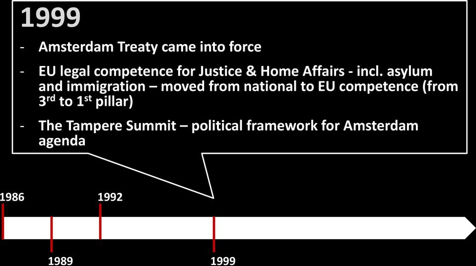 asylum and immigration moved from national to EU competence (from
