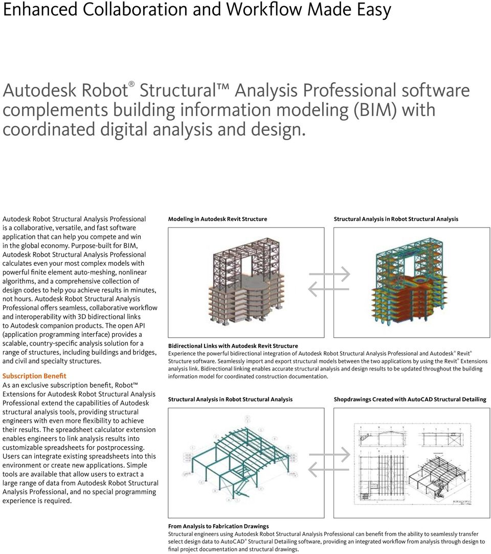 Purpose-built for BIM, calculates even your most complex models with powerful finite element auto-meshing, nonlinear algorithms, and a comprehensive collection of design codes to help you achieve