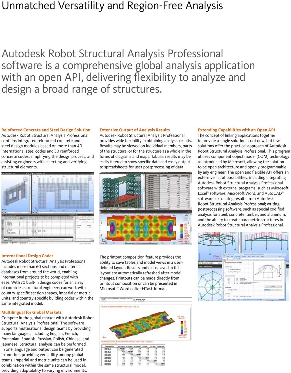 simplifying the design process, and assisting engineers with selecting and verifying structural elements. Extensive Output of Analysis Results provides wide flexibility in obtaining analysis results.