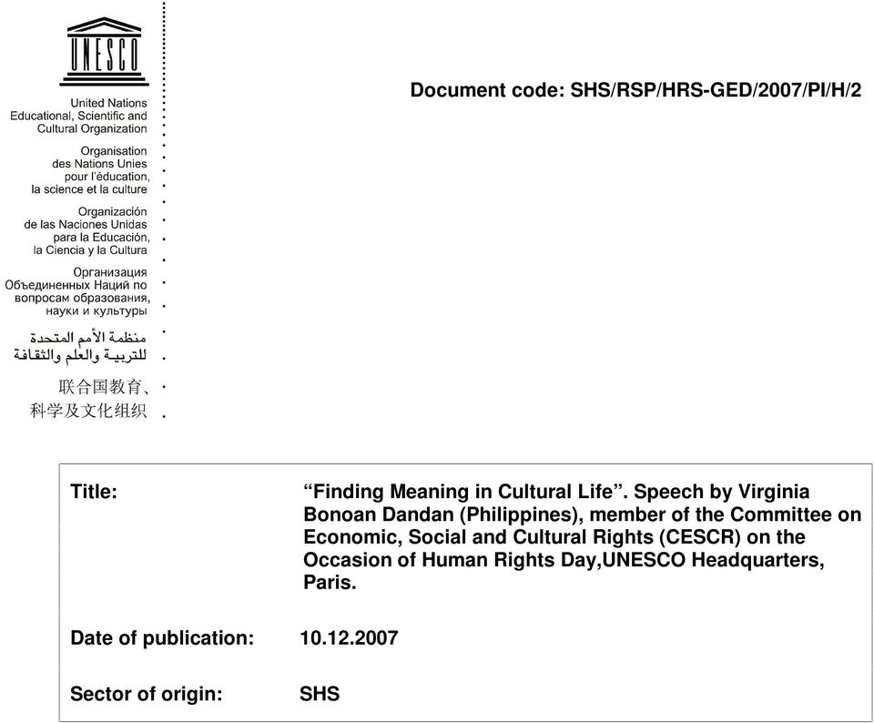 Economic, Social and Cultural Rights (CESCR) on the Occasion of Human Rights