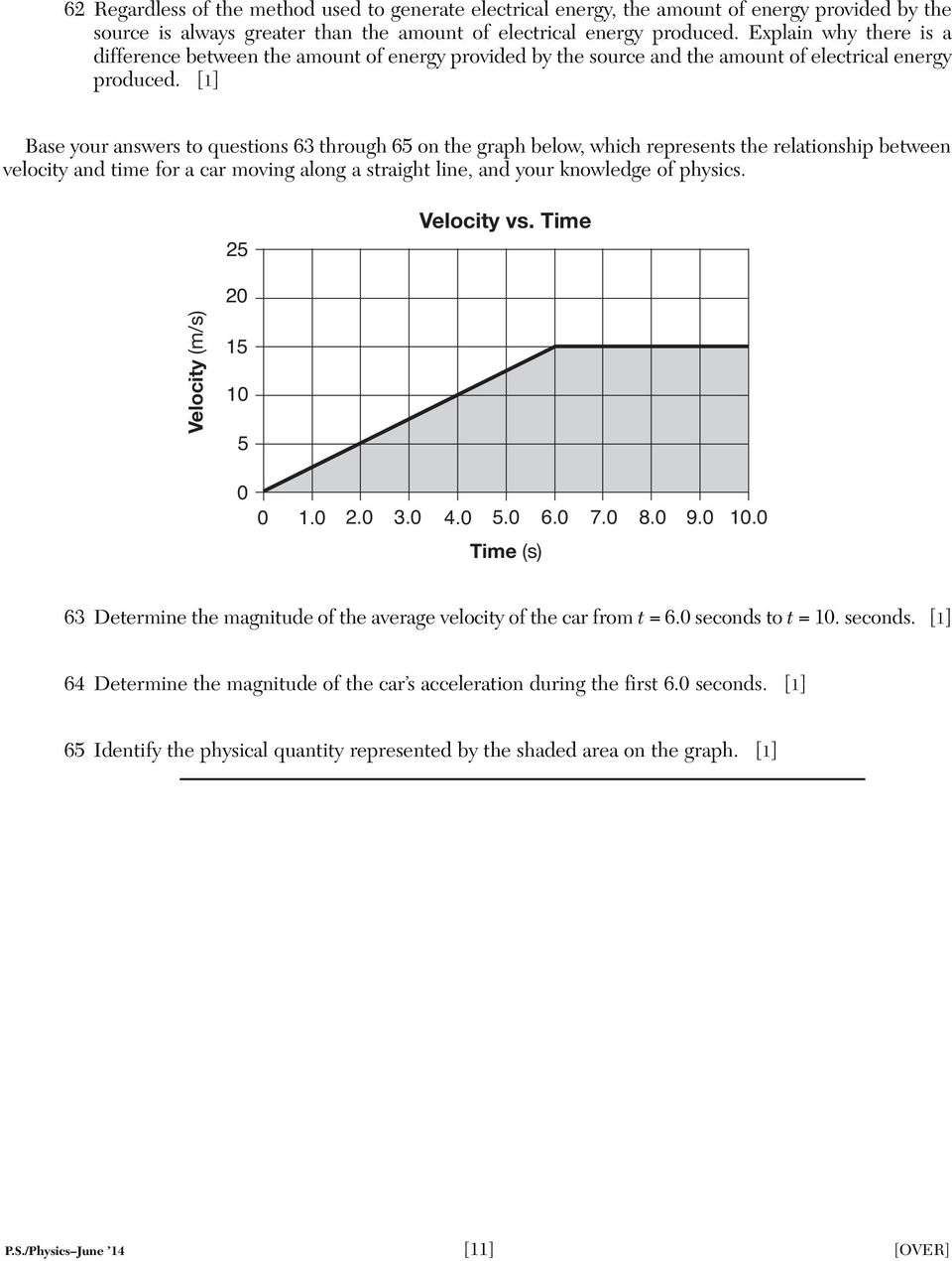 [1] Base your answers to questions 63 through 65 on the graph below, which represents the relationship between velocity and time for a car moving along a straight line, and your knowledge of physics.