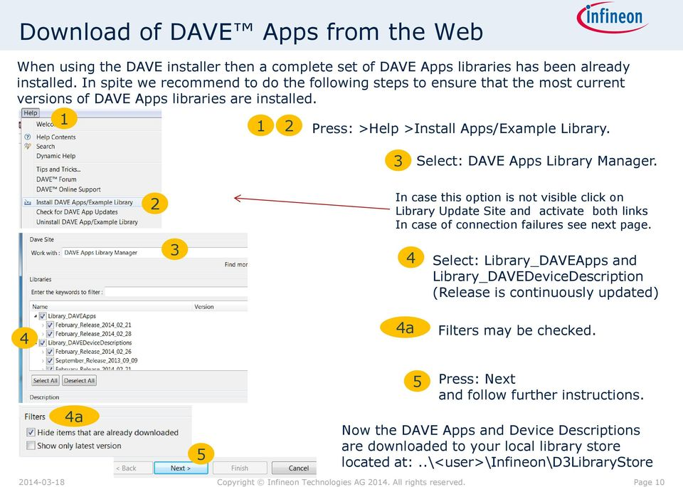 Select: DAVE Apps Library Manager. In case this option is not visible click on Library Update Site and activate both links In case of connection failures see next page.