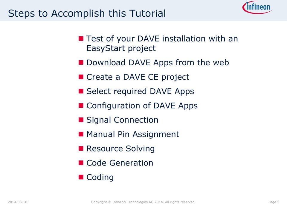Apps Configuration of DAVE Apps Signal Connection Manual Pin Assignment Resource