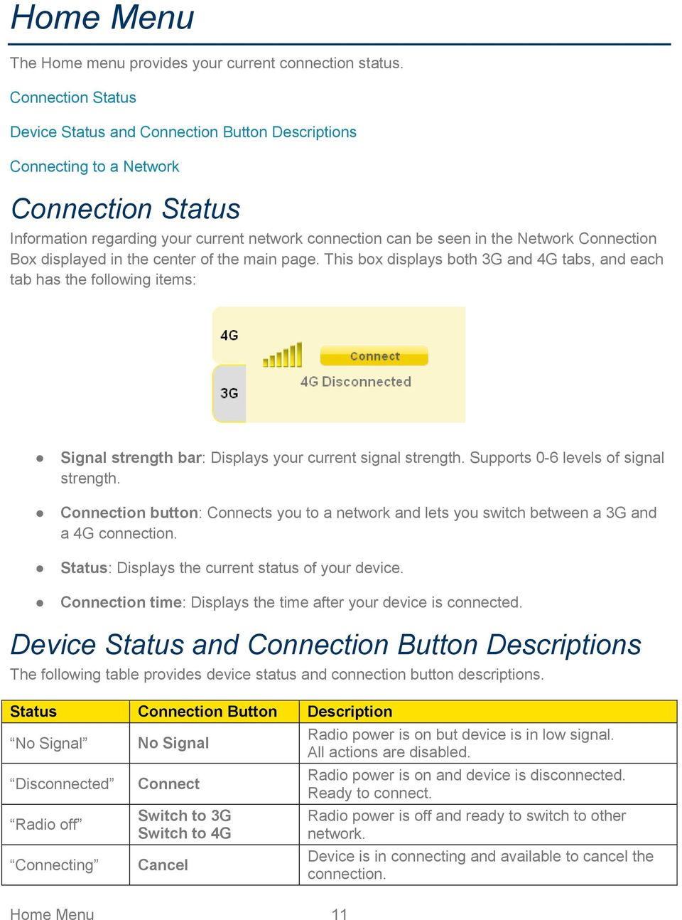 Connection Box displayed in the center of the main page. This box displays both 3G and 4G tabs, and each tab has the following items: Signal strength bar: Displays your current signal strength.