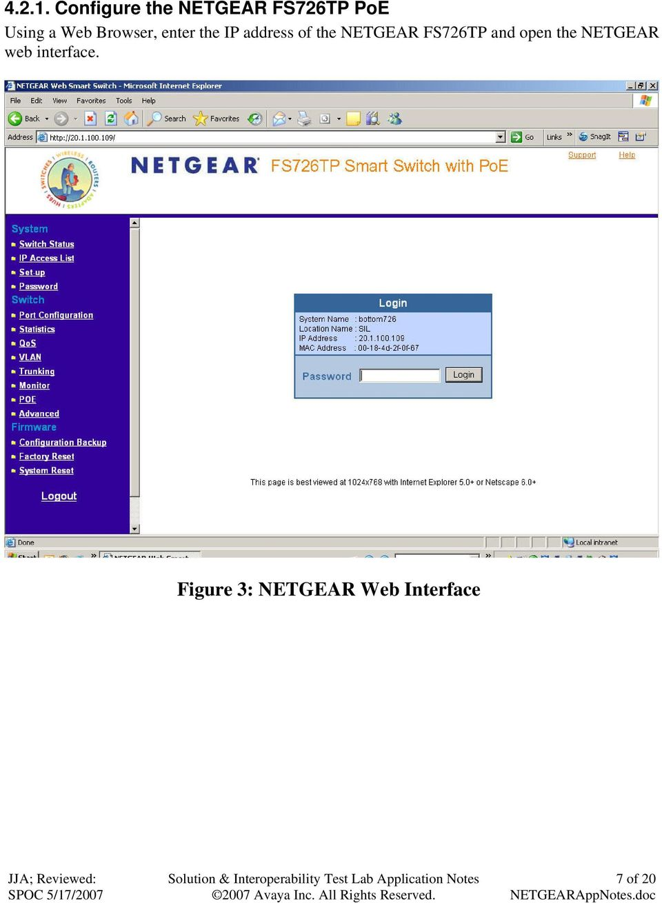 Browser, enter the IP address of the NETGEAR