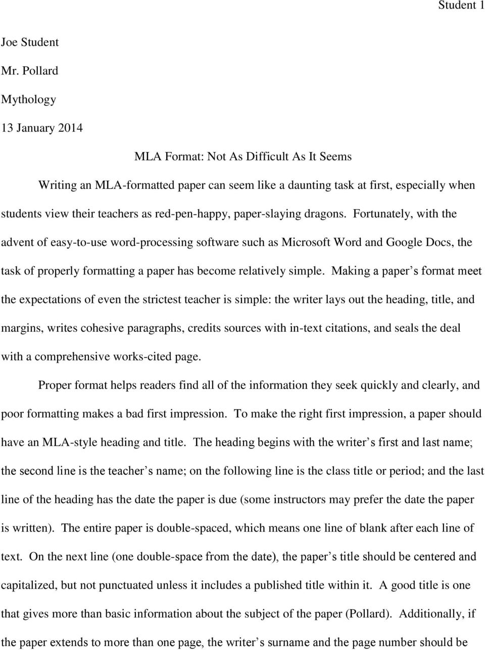 Mla Format Narrative Essay
