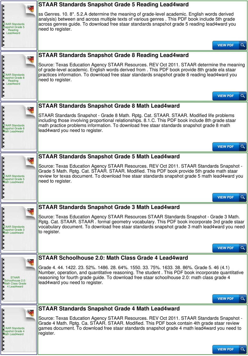 To download free staar standards snapshot grade 5 reading lead4ward you need to Snapshot Grade 8 Snapshot Grade 8 Source: Texas Education Agency Resources. REV Oct 2011.