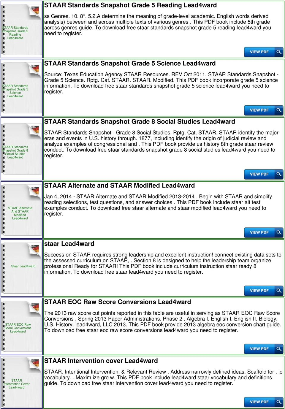 To download free staar standards snapshot grade 5 reading lead4ward you need to Snapshot Grade 5 Science Snapshot Grade 5 Science Source: Texas Education Agency Resources. REV Oct 2011.