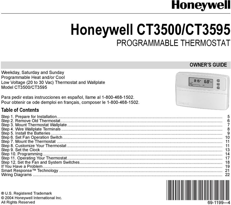 Honeywell CT3500/CT3595 PROGRAMMABLE THERMOSTAT