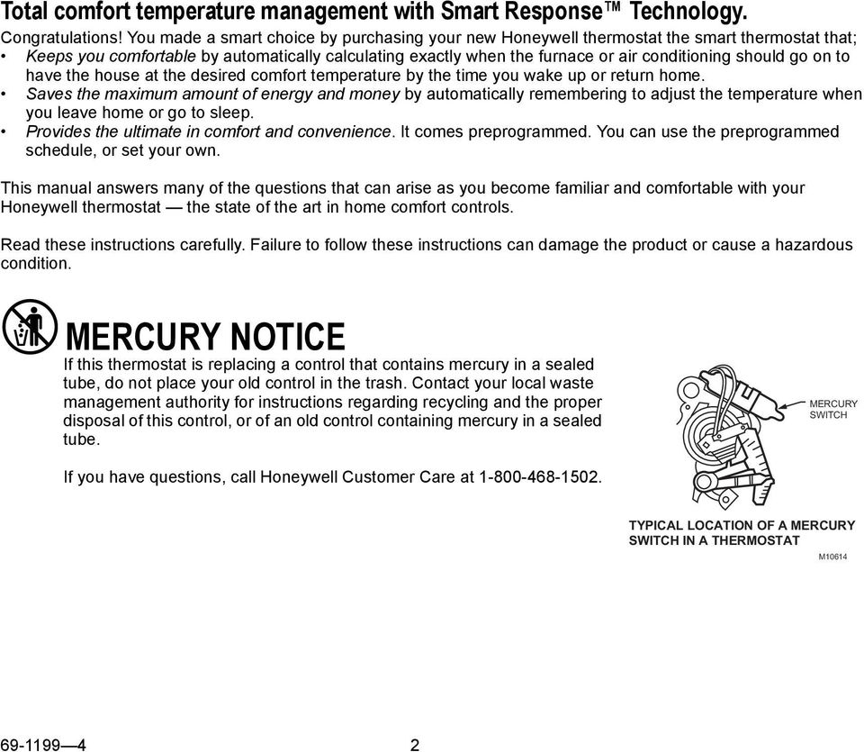 Honeywell Mercury Thermostat Instructions S Compare Prices At