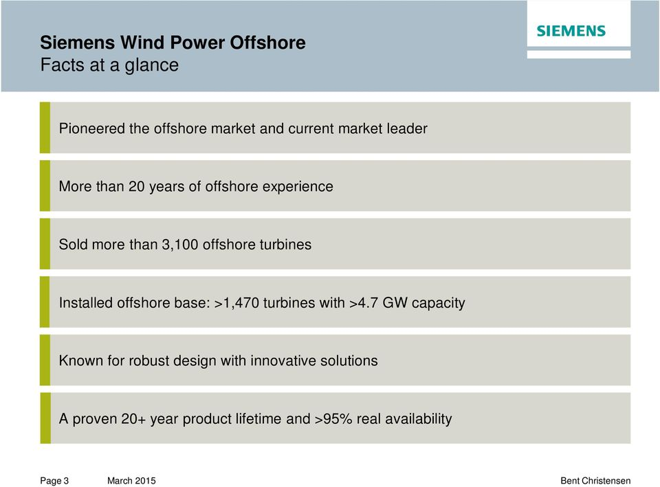 turbines Installed offshore base: >1,470 turbines with >4.