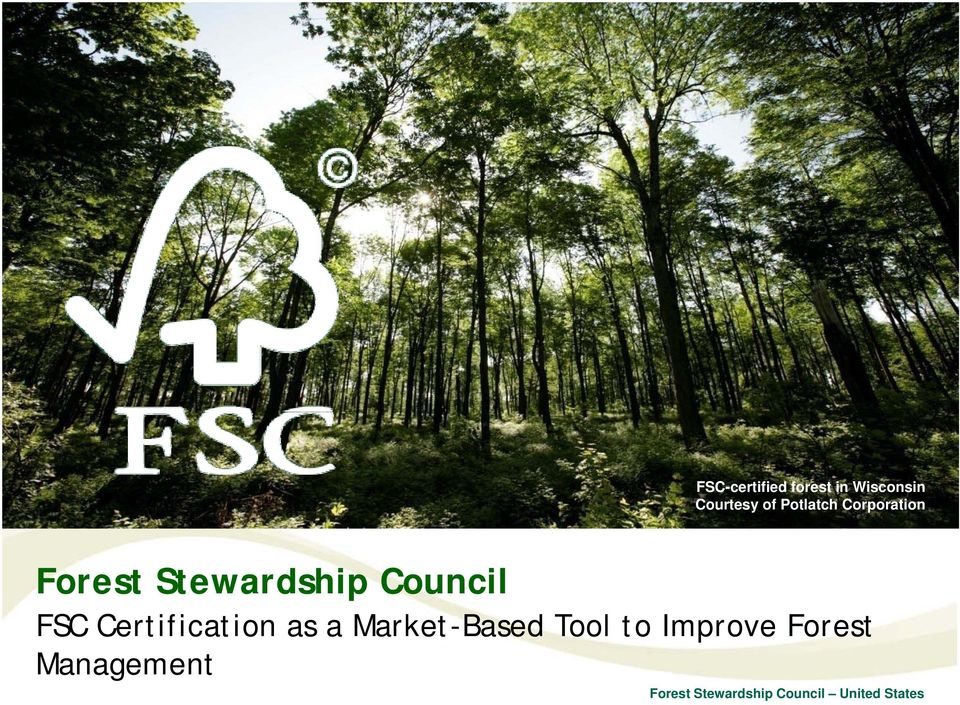 Stewardship Council FSC Certification as