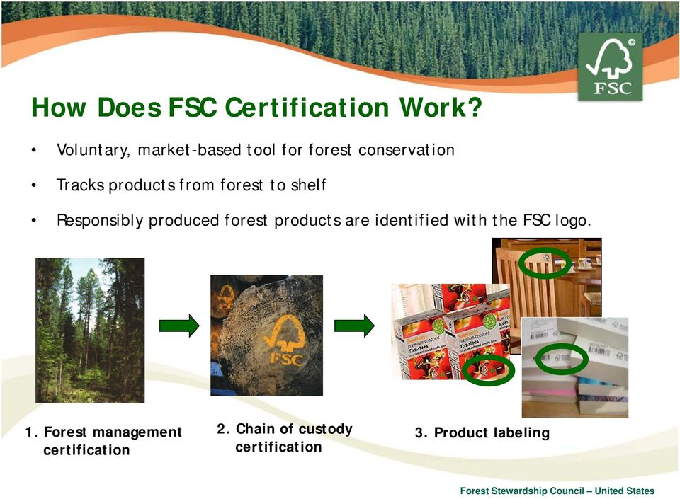 forest to shelf Responsibly produced forest products are identified with the