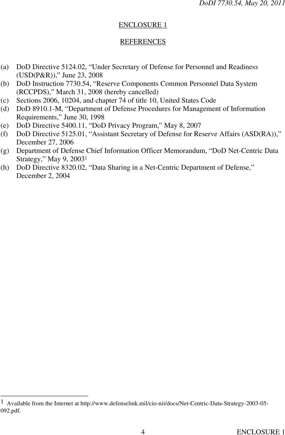 1-M, Department of Defense Procedures for Management of Information Requirements, June 30, 1998 (e) DoD Directive 5400.11, DoD Privacy Program, May 8, 2007 (f) DoD Directive 5125.