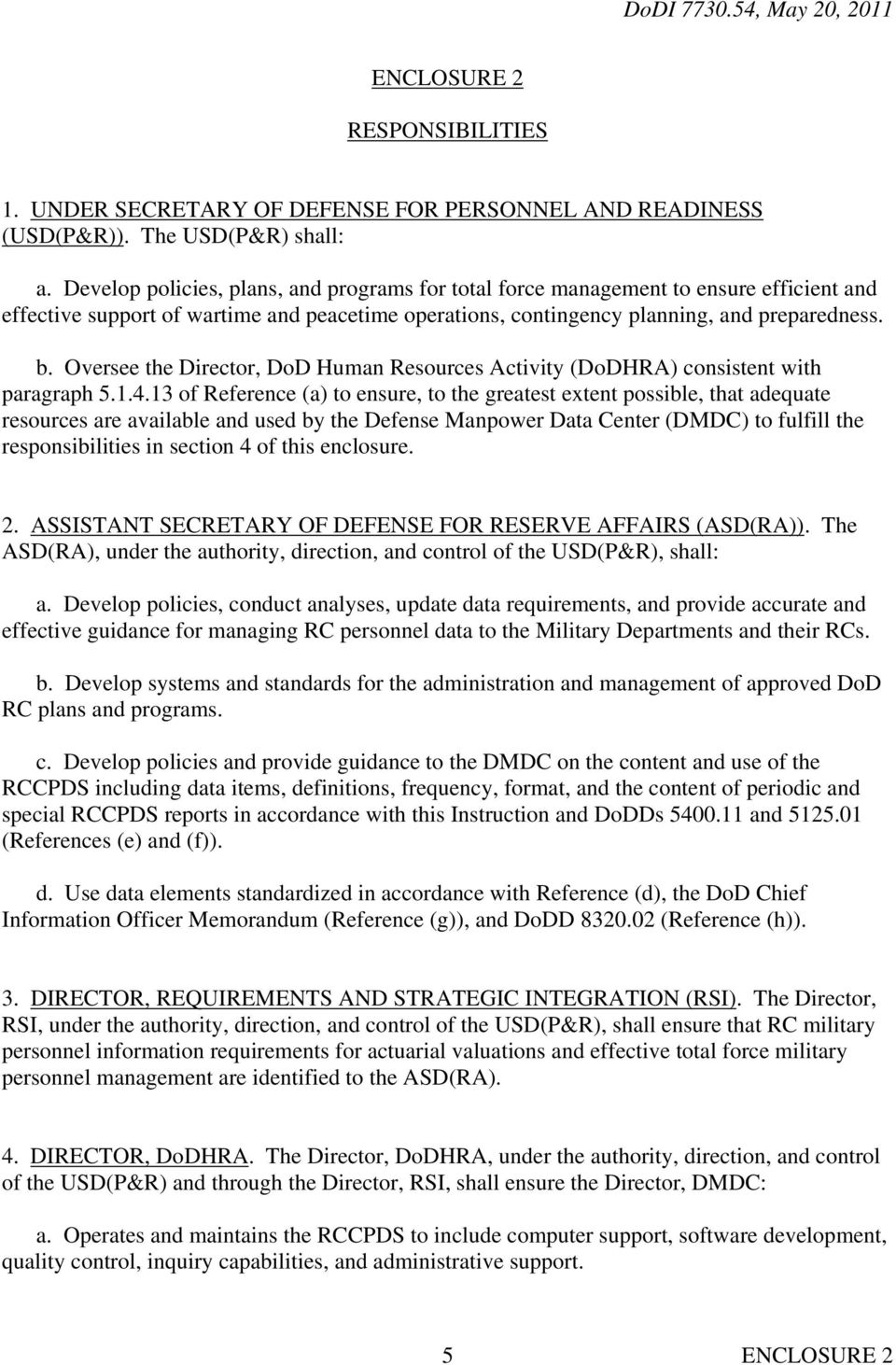 Oversee the Director, DoD Human Resources Activity (DoDHRA) consistent with paragraph 5.1.4.