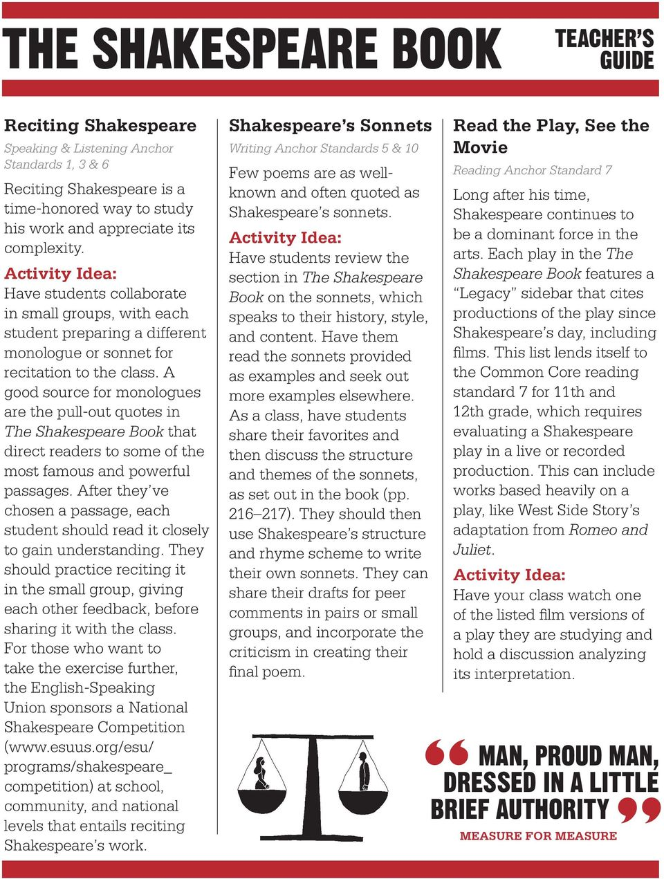 A good source for monologues are the pull-out quotes in The Shakespeare Book that direct readers to some of the most famous and powerful passages.