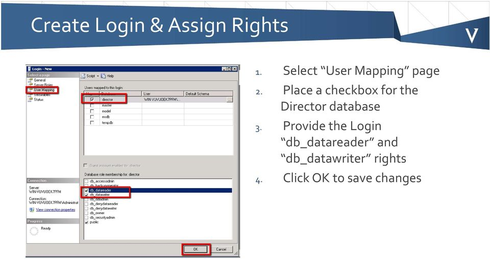 Place a checkbox for the Director database 3.