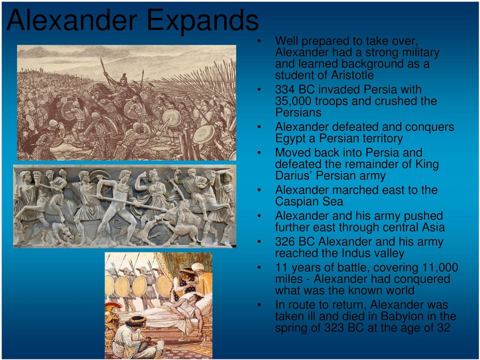 marched east to the Caspian Sea Alexander and his army pushed further east through central Asia 326 BC Alexander and his army reached the Indus valley 11 years of battle,