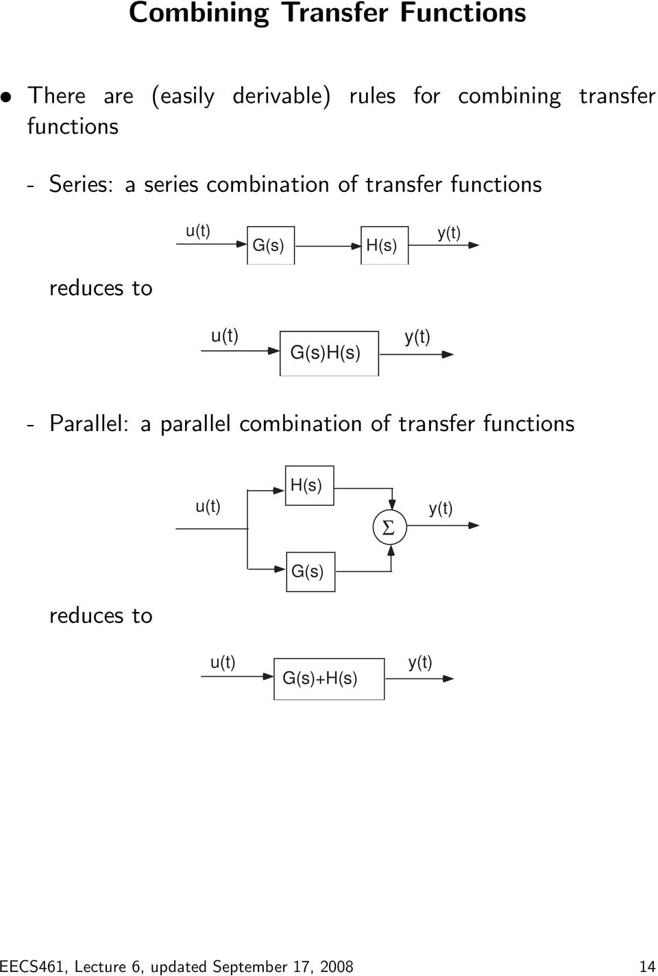 reduces to u(t) G(s)H(s) y(t) - Parallel: a parallel combination of transfer functions