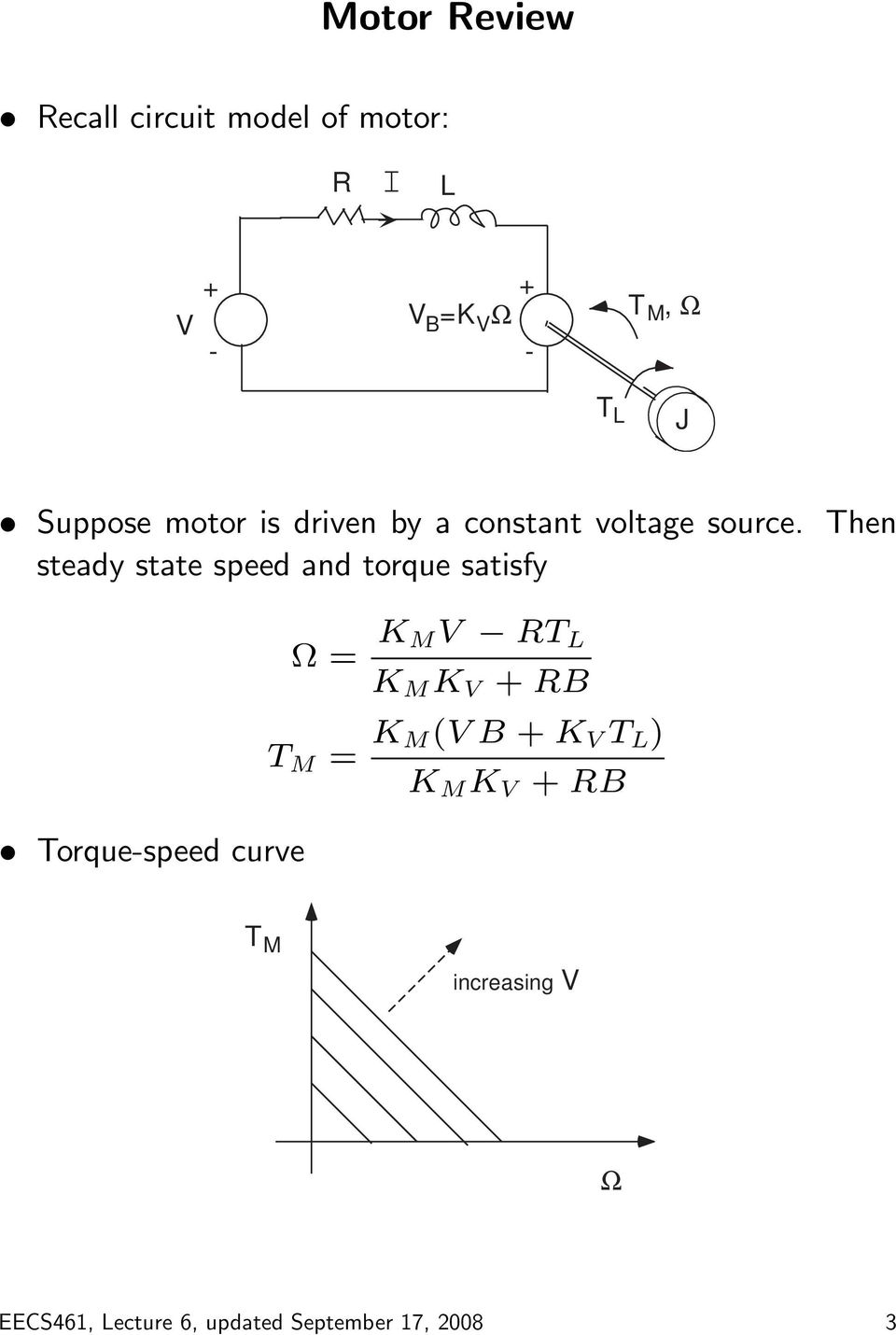 Then steady state speed and torque satisfy Torque-speed curve Ω = K MV RT L K M K