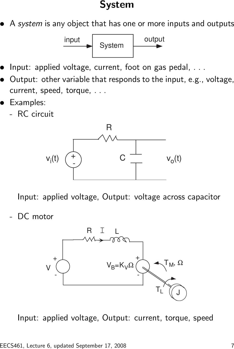 .. Examples: - RC circuit R v i (t) + - C v o (t) Input: applied voltage, Output: voltage across capacitor - DC motor R I
