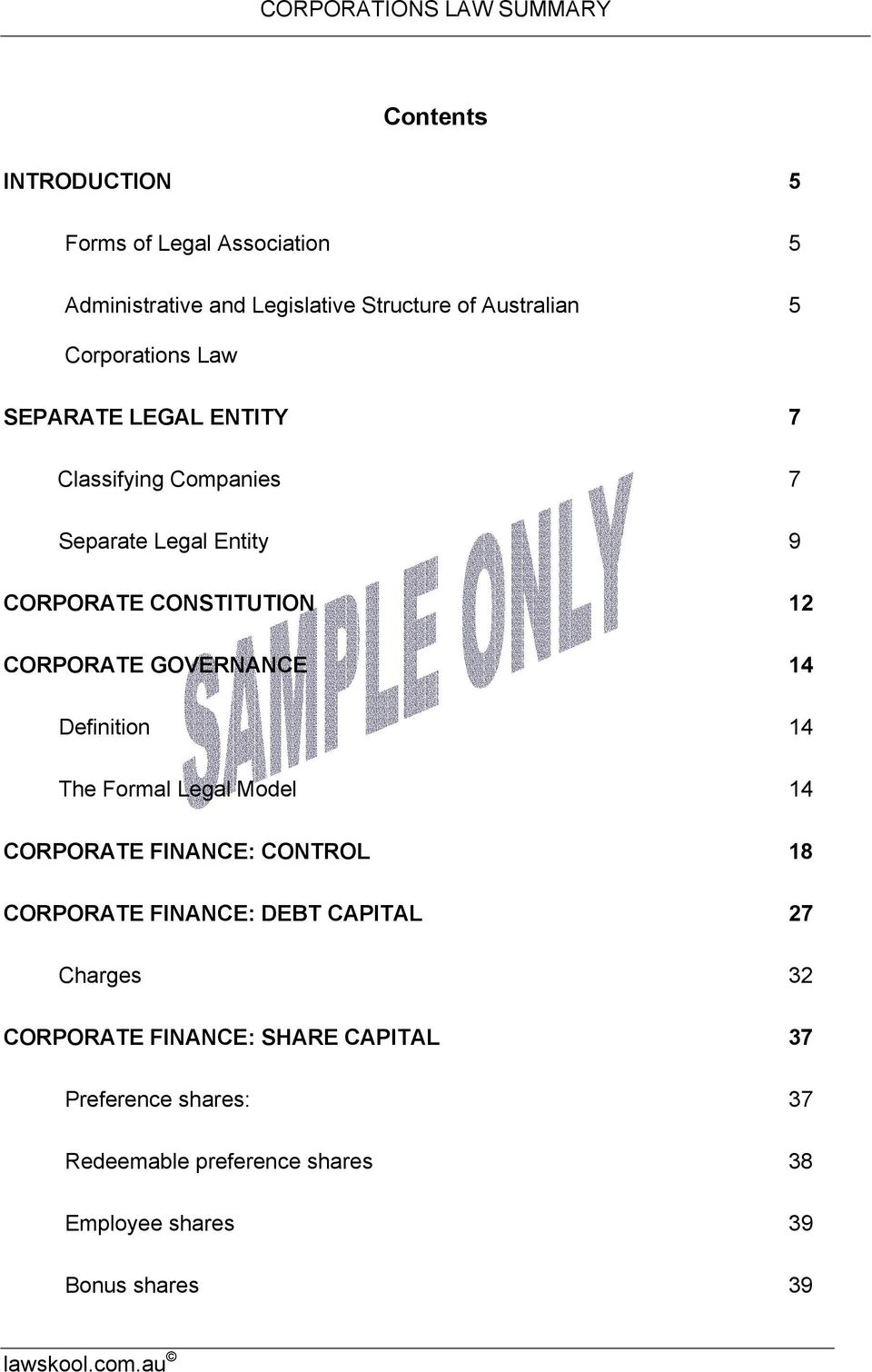 14 Definitin 14 The Frmal Legal Mdel 14 CORPORATE FINANCE: CONTROL 18 CORPORATE FINANCE: DEBT CAPITAL 27 Charges 32