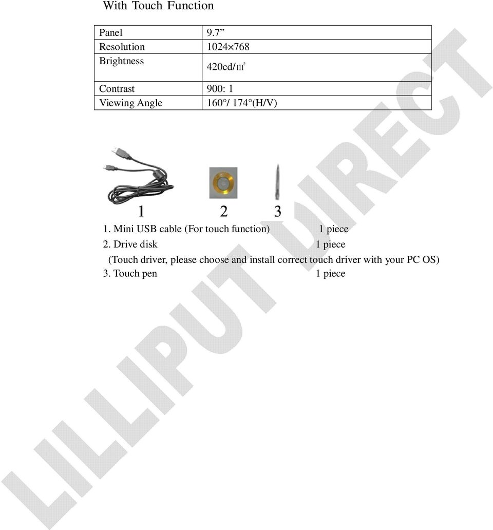 Angle 160 / 174 (H/V) 1. Mini USB cable (For touch function) 1 piece 2.