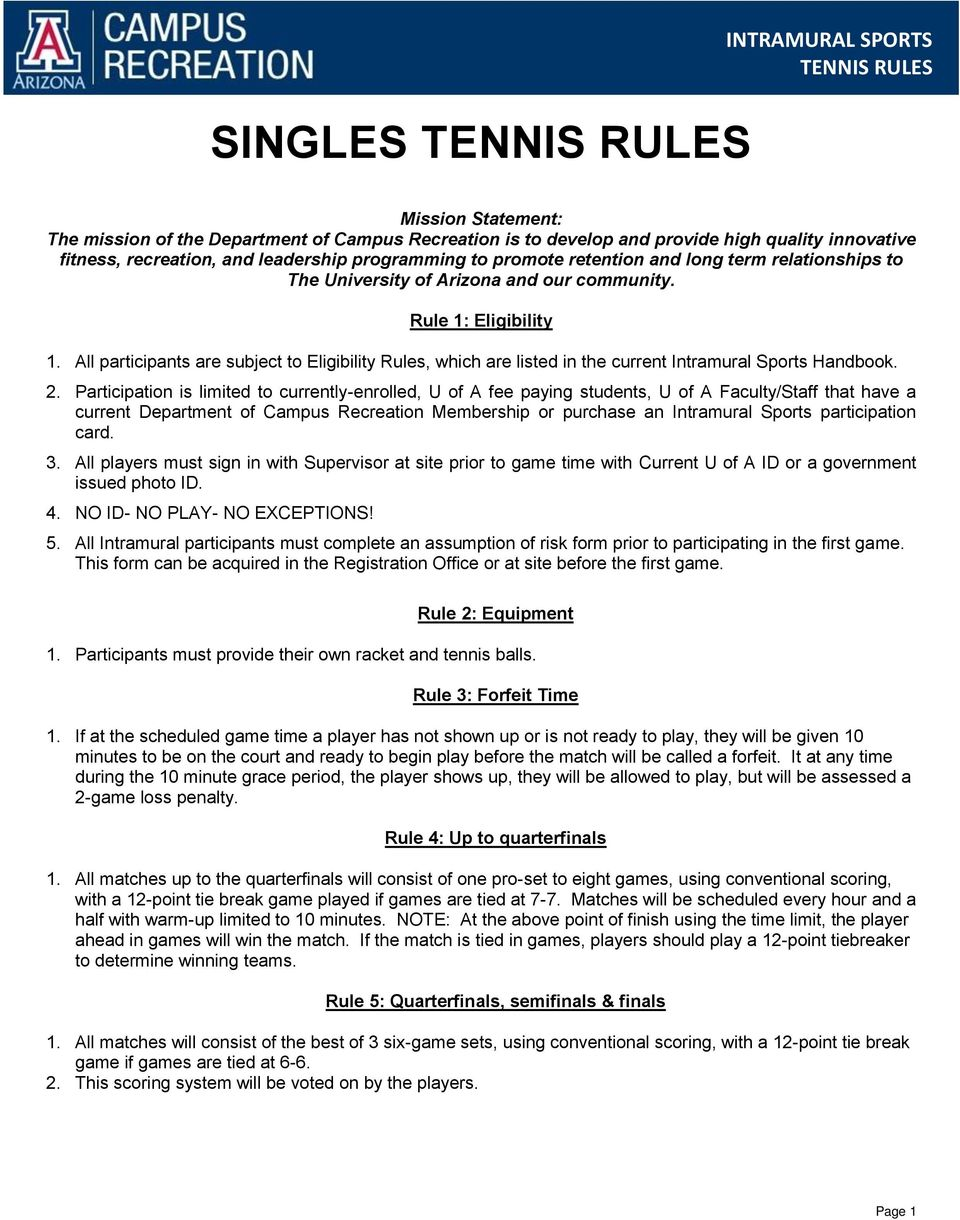 All participants are subject to Eligibility Rules, which are listed in the current Intramural Sports Handbook. 2.