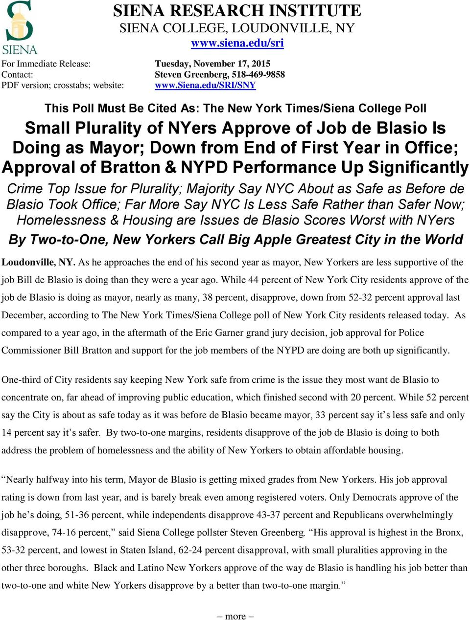 edu/sri/sny This Poll Must Be Cited As: The New York Times/Siena College Poll Small Plurality of NYers Approve of Job de Blasio Is Doing as Mayor; Down from End of First Year in Office; Approval of