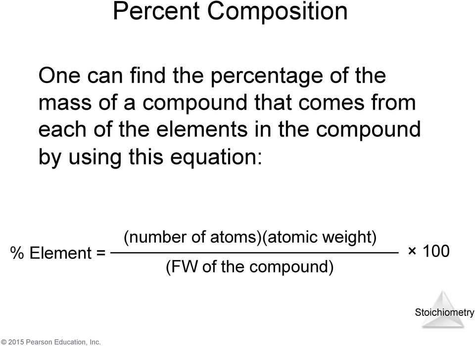 elements in the compound by using this equation: %