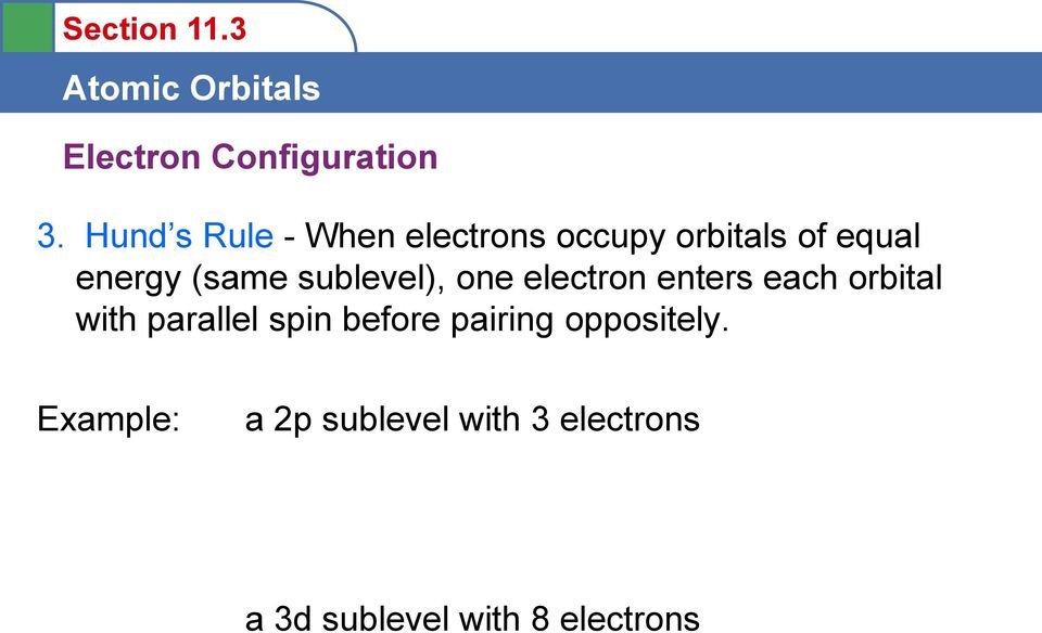 (same sublevel), one electron enters each orbital with parallel