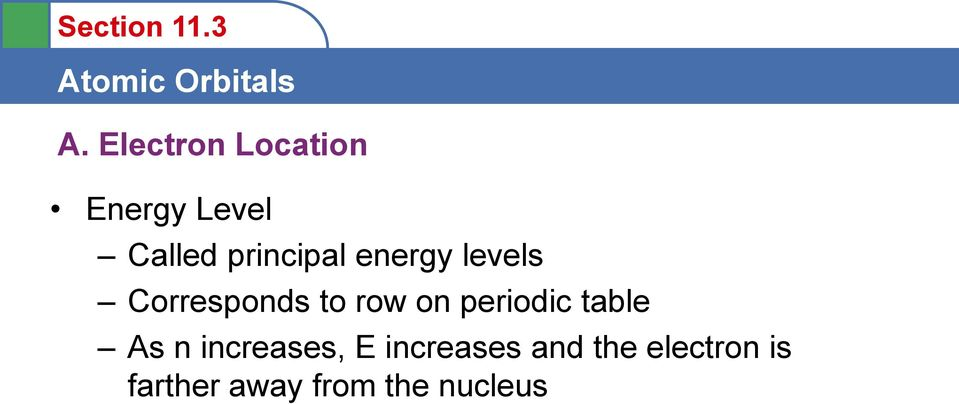 on periodic table As n increases, E
