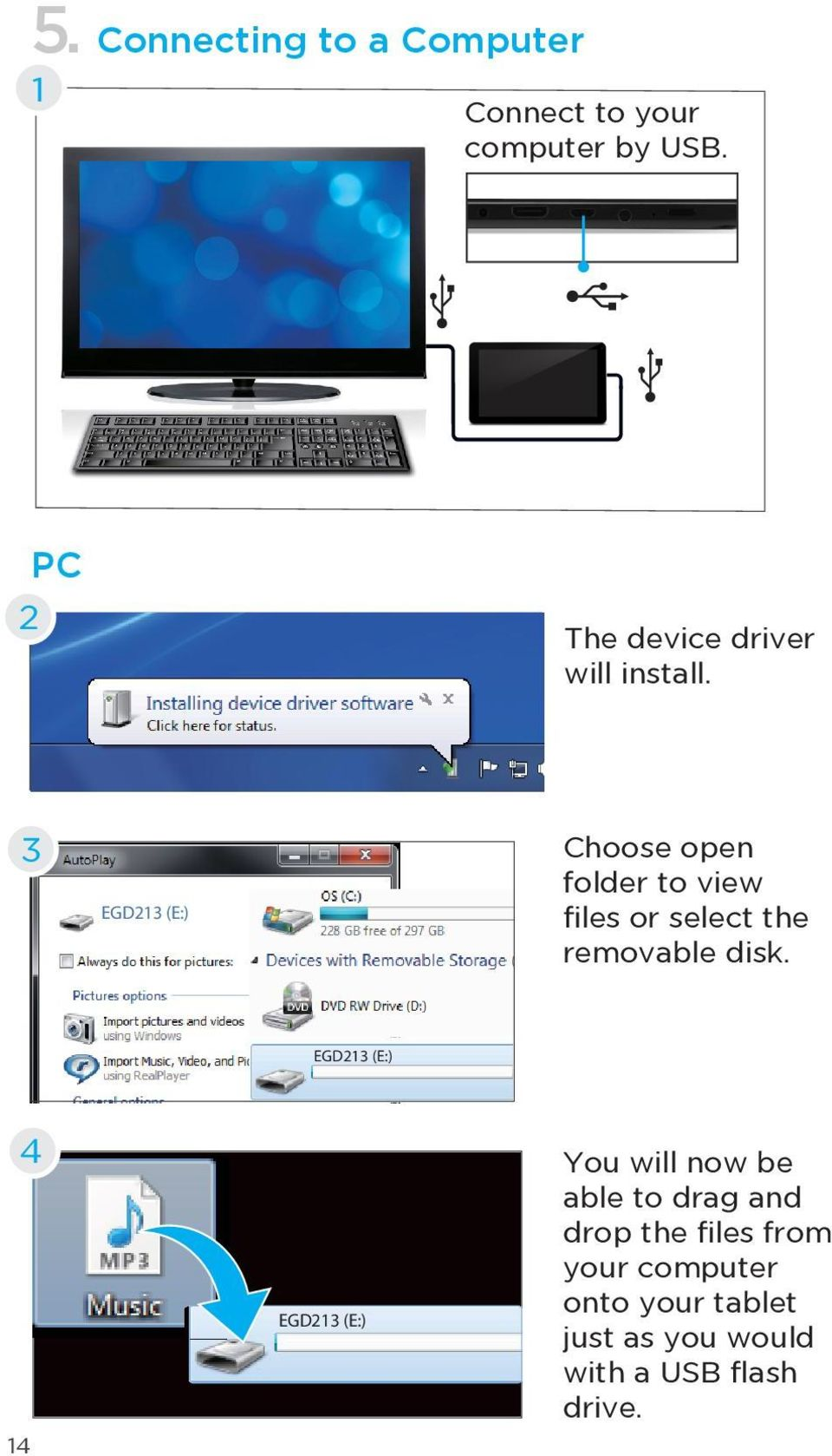 3 EGD213 (E:) Choose open folder to view files or select the removable disk.