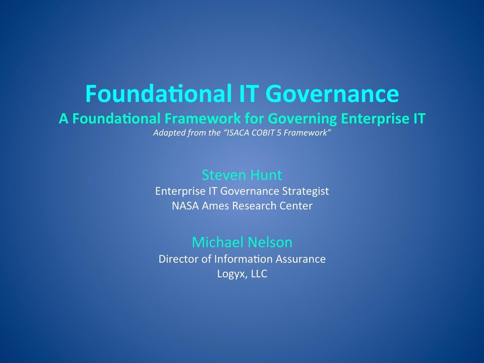 Framework Steven Hunt Enterprise IT Governance Strategist NASA