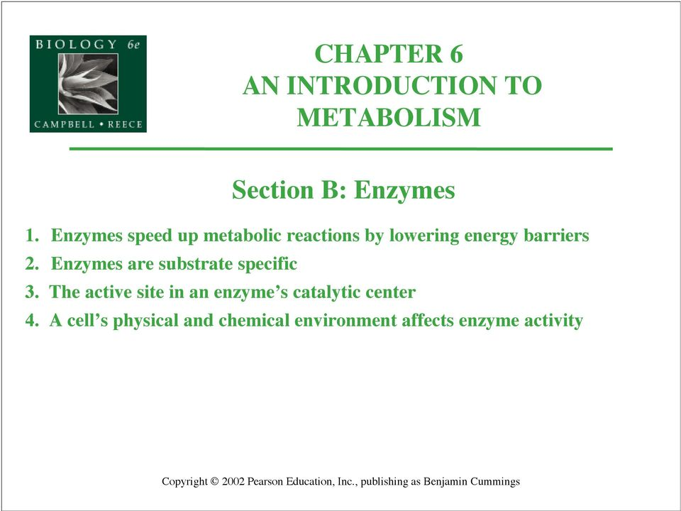 Enzymes are substrate specific 3.