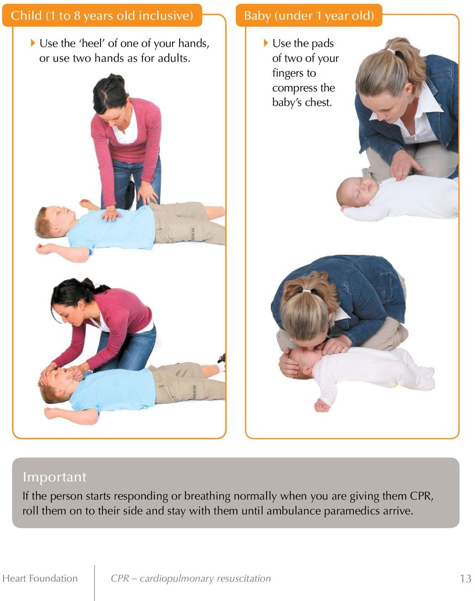 Important If the person starts responding or breathing normally when you are giving them CPR, roll them