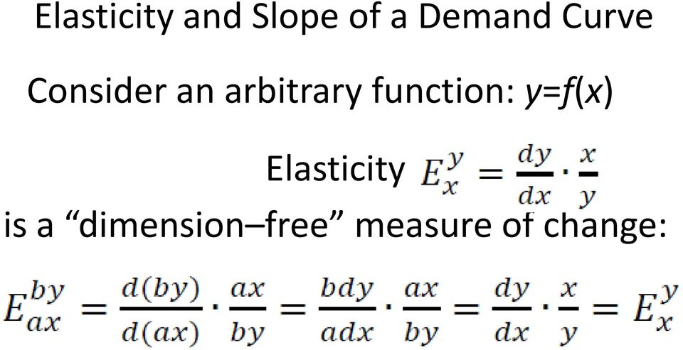 function: y=f(x) Elasticity is
