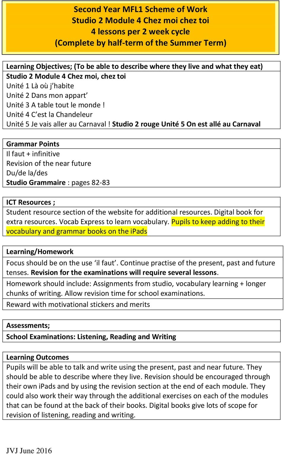 Studio 2 rouge Unité 5 On est allé au Carnaval Il faut + infinitive Revision of the near future Du/de la/des Studio Grammaire : pages 82-83 ICT Resources ; Focus should be on the use il faut.